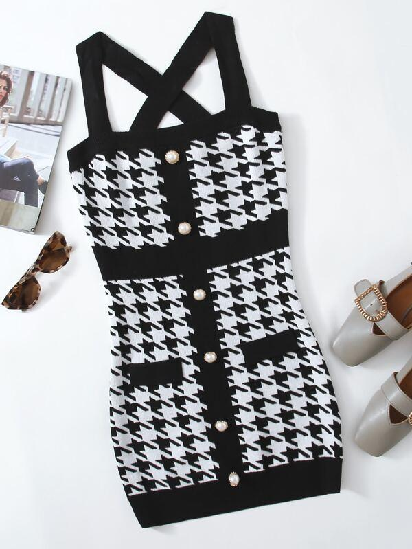 Button Front Crisscross Back Houndstooth Sweater Dress - INS | Online Fashion Free Shipping Clothing, Dresses, Tops, Shoes