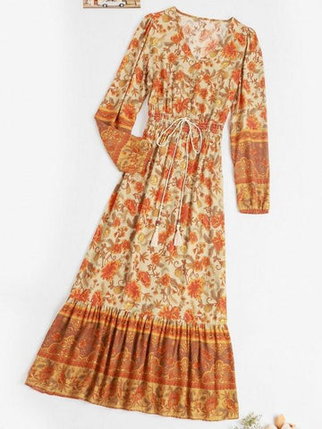 Button Loop Bohemian Printed Tassels Maxi Dress - INS | Online Fashion Free Shipping Clothing, Dresses, Tops, Shoes