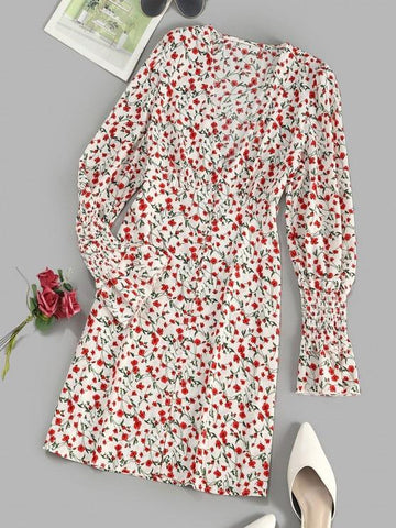 Button Loop Tiny Floral Smock Sleeve Mini Dress - INS | Online Fashion Free Shipping Clothing, Dresses, Tops, Shoes