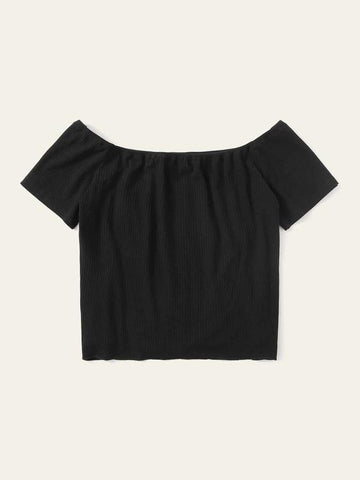 Button Tie Front Rib-knit Bardot Tee - INS | Online Fashion Free Shipping Clothing, Dresses, Tops, Shoes