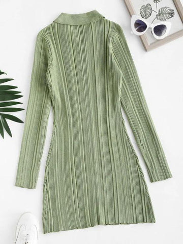 Button Up Ribbed Bodycon Sweater Dress - INS | Online Fashion Free Shipping Clothing, Dresses, Tops, Shoes