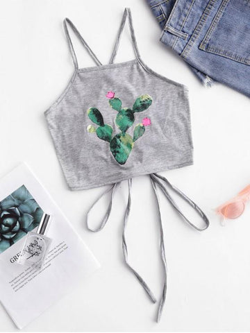 Cactus Print Criss Cross Crop Cami Top - INS | Online Fashion Free Shipping Clothing, Dresses, Tops, Shoes