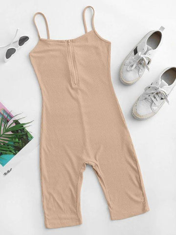 Cami Half Zip Ribbed Unitard Romper - INS | Online Fashion Free Shipping Clothing, Dresses, Tops, Shoes