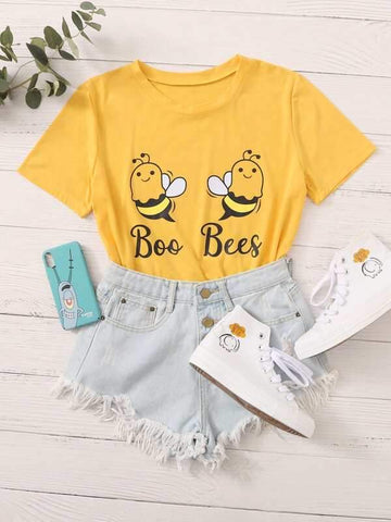 Cartoon Bee & Letter Graphic Tee - INS | Online Fashion Free Shipping Clothing, Dresses, Tops, Shoes