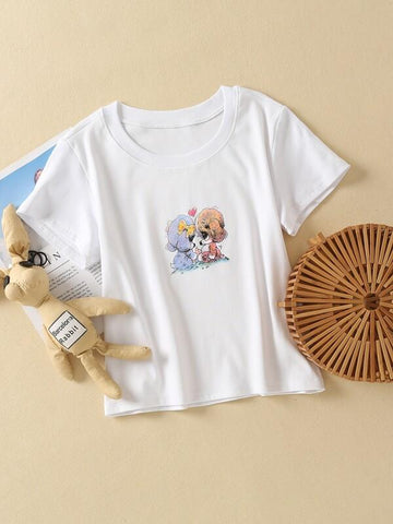 Cartoon Graphic Crew Neck Tee - INS | Online Fashion Free Shipping Clothing, Dresses, Tops, Shoes
