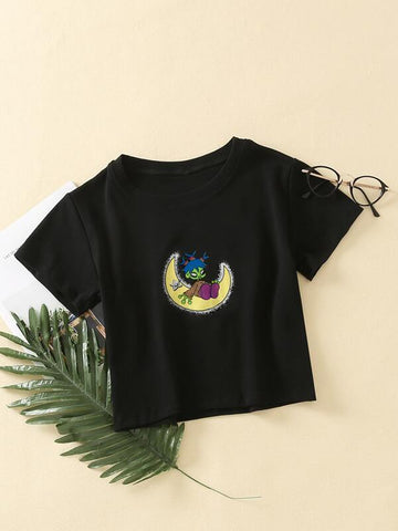 Cartoon Graphic Round Neck T-Shirt - INS | Online Fashion Free Shipping Clothing, Dresses, Tops, Shoes