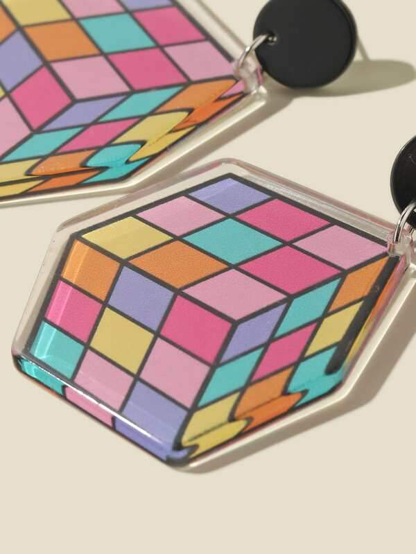 Cartoon Magic Cube Drop Earrings - INS | Online Fashion Free Shipping Clothing, Dresses, Tops, Shoes