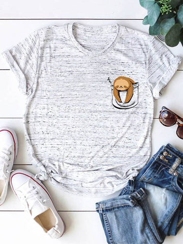 Cartoon Print Marled Tee - INS | Online Fashion Free Shipping Clothing, Dresses, Tops, Shoes