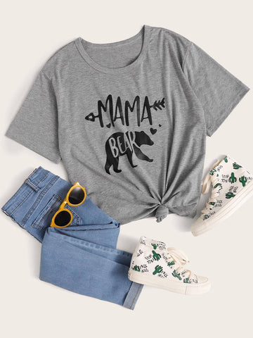 Casual Basic Letter Graphic Short Sleeve Tee - INS | Online Fashion Free Shipping Clothing, Dresses, Tops, Shoes