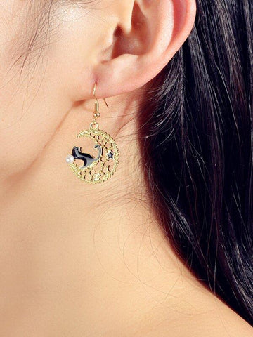 Cat Decor Hollow Out Moon Drop Earrings - INS | Online Fashion Free Shipping Clothing, Dresses, Tops, Shoes