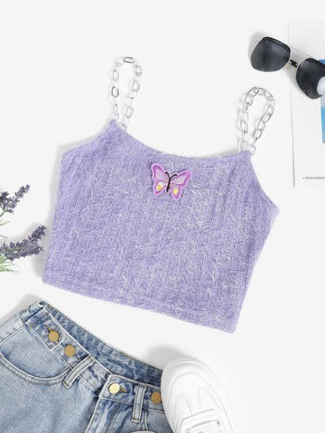 Chain Straps Butterfly Patch Chenille Knit Cami Top - INS | Online Fashion Free Shipping Clothing, Dresses, Tops, Shoes