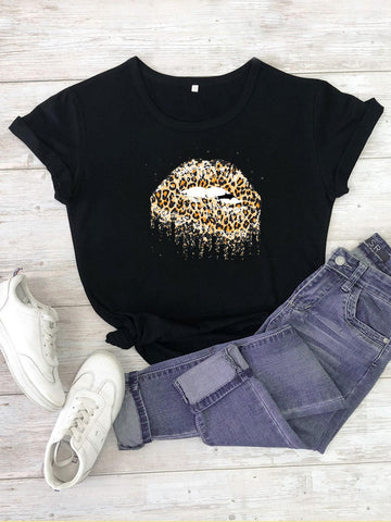 Cheetah Lips Print Round Neck Tee - INS | Online Fashion Free Shipping Clothing, Dresses, Tops, Shoes