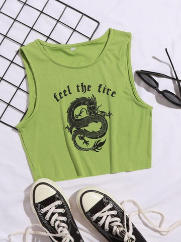 Chinese Slogan & Dragon Tank Top - INS | Online Fashion Free Shipping Clothing, Dresses, Tops, Shoes