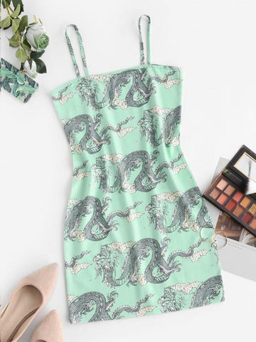 Chinoiserie Dragon Print Bodycon Cami Dress - INS | Online Fashion Free Shipping Clothing, Dresses, Tops, Shoes