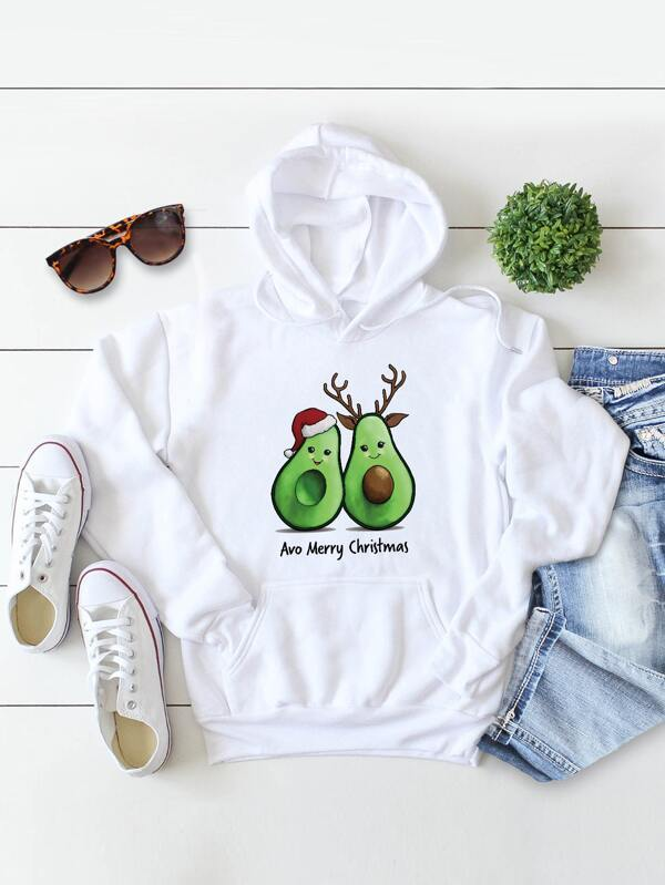 Christmas Kangaroo Pocket Fleece Lined Drawstring Hoodie - INS | Online Fashion Free Shipping Clothing, Dresses, Tops, Shoes