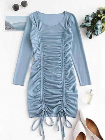 Cinched Front Ribbed Long Sleeve Mini Dress - INS | Online Fashion Free Shipping Clothing, Dresses, Tops, Shoes