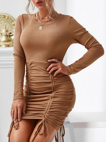 Cinched Ribbed Bodycon Dress - INS | Online Fashion Free Shipping Clothing, Dresses, Tops, Shoes