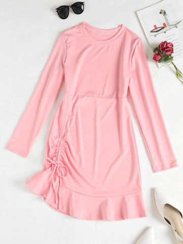 Cinched Ruffle Hem Mini Dress - INS | Online Fashion Free Shipping Clothing, Dresses, Tops, Shoes