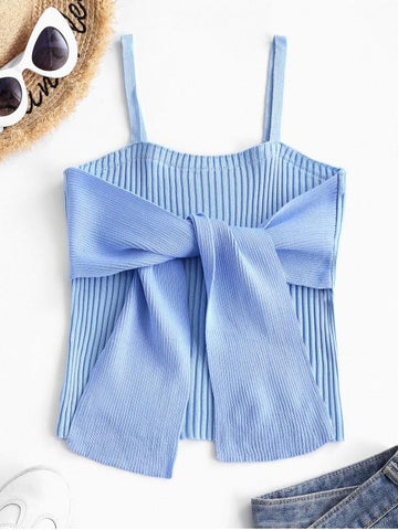 Colorblock Ribbed Bowknot Cami Tank Top - INS | Online Fashion Free Shipping Clothing, Dresses, Tops, Shoes