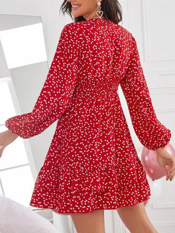 Confetti Heart Print Shirred Waist Layered Hem Dress - INS | Online Fashion Free Shipping Clothing, Dresses, Tops, Shoes