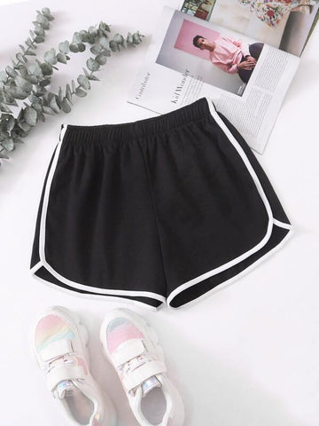 Contrast Binding Elastic Waist Track Shorts - INS | Online Fashion Free Shipping Clothing, Dresses, Tops, Shoes
