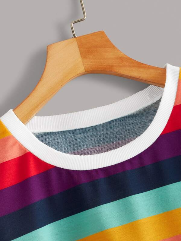 Contrast Binding Rainbow Striped Sweatshirt - INS | Online Fashion Free Shipping Clothing, Dresses, Tops, Shoes