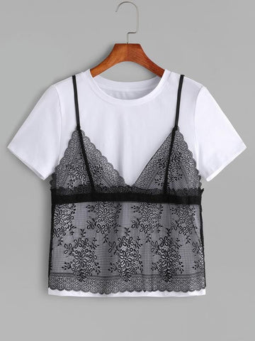 Contrast Floral Lace Cami Overlay T-shirt - INS | Online Fashion Free Shipping Clothing, Dresses, Tops, Shoes