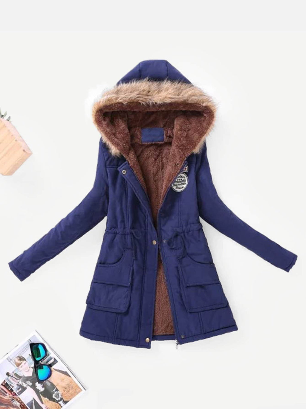 Contrast Lined Hood Parka Coat - INS | Online Fashion Free Shipping Clothing, Dresses, Tops, Shoes