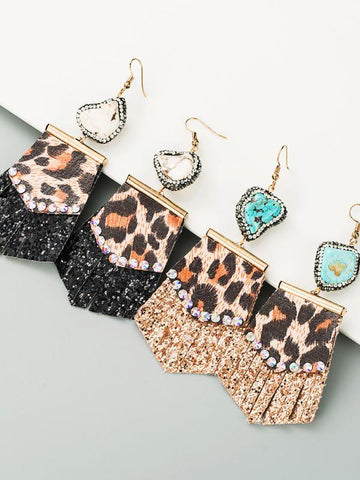 Creative Leopard Sequined Splicing Rhinestone Earrings - INS | Online Fashion Free Shipping Clothing, Dresses, Tops, Shoes