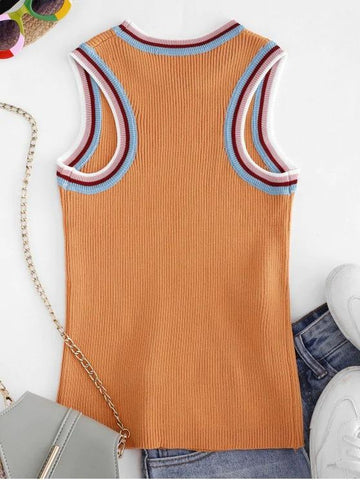Crew Neck Stripes Panel Knitted Tank Top - INS | Online Fashion Free Shipping Clothing, Dresses, Tops, Shoes
