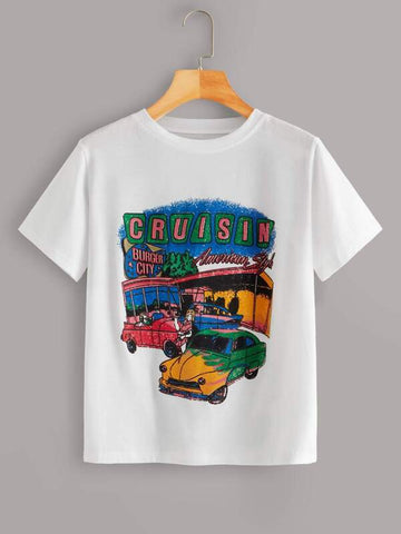 Cruisin Car Graphic Short Sleeve Tee - INS | Online Fashion Free Shipping Clothing, Dresses, Tops, Shoes