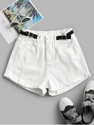 Cuffed Hem Buckled Waist Denim Shorts - INS | Online Fashion Free Shipping Clothing, Dresses, Tops, Shoes