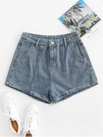 Cuffed High Waisted Jean Shorts - INS | Online Fashion Free Shipping Clothing, Dresses, Tops, Shoes