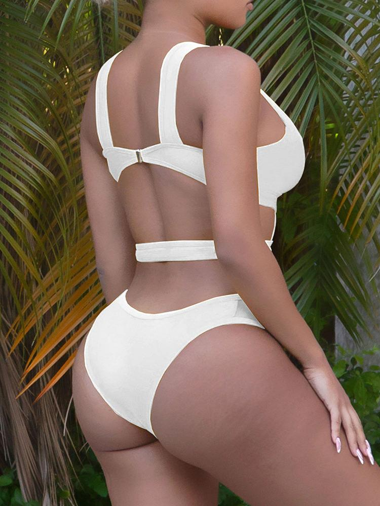 Cutout Backless Thick Strap One Piece Swimsuit - Swimsuits - INS | Online Fashion Free Shipping Clothing, Dresses, Tops, Shoes - 27/04/2021 - Category_Swimsuits - Color_White