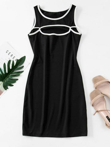 Cutout Binding Bodycon Tank Dress - INS | Online Fashion Free Shipping Clothing, Dresses, Tops, Shoes