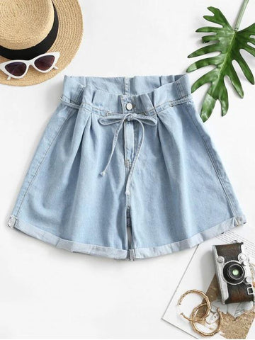 Denim Cuffed Hem Paperbag Shorts - INS | Online Fashion Free Shipping Clothing, Dresses, Tops, Shoes