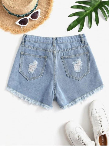 Destroyed Mini Denim Shorts - INS | Online Fashion Free Shipping Clothing, Dresses, Tops, Shoes