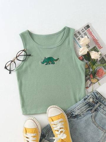 Dinosaur Embroidery Rib-knit Tank Top - INS | Online Fashion Free Shipping Clothing, Dresses, Tops, Shoes