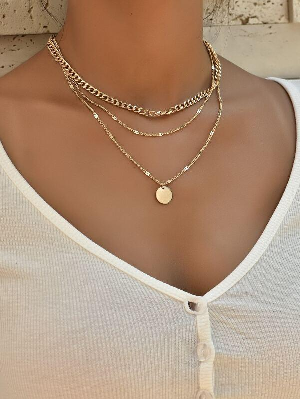 Disc Charm Layered Necklace - INS | Online Fashion Free Shipping Clothing, Dresses, Tops, Shoes