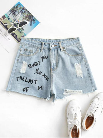 Distressed Letter Graphic Denim Shorts - INS | Online Fashion Free Shipping Clothing, Dresses, Tops, Shoes