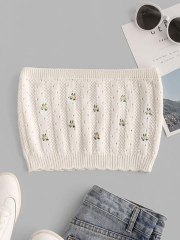 Ditsy Floral Embroidered Pointelle Knit Bandeau Top - INS | Online Fashion Free Shipping Clothing, Dresses, Tops, Shoes
