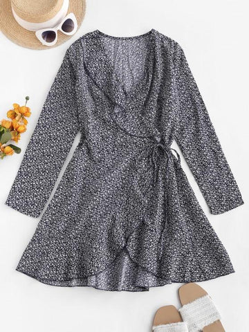 Ditsy Floral Ruffles Long Sleeve Wrap Dress - INS | Online Fashion Free Shipping Clothing, Dresses, Tops, Shoes