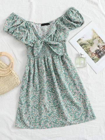 Ditsy Floral Smocked Puff Sleeves Mini Dress - INS | Online Fashion Free Shipping Clothing, Dresses, Tops, Shoes