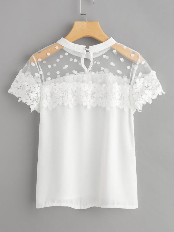 Dot Mesh Panel Crochet Appliques Blouse - INS | Online Fashion Free Shipping Clothing, Dresses, Tops, Shoes