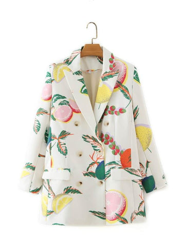 Double Breasted Lemon Print Blazer - INS | Online Fashion Free Shipping Clothing, Dresses, Tops, Shoes