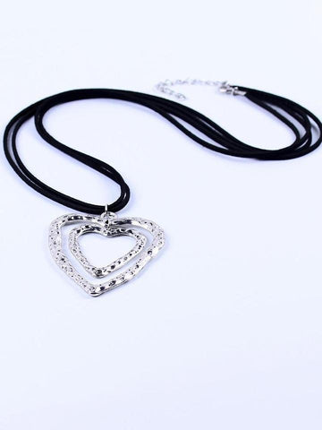 Double heart-shaped brown leather long necklace - INS | Online Fashion Free Shipping Clothing, Dresses, Tops, Shoes