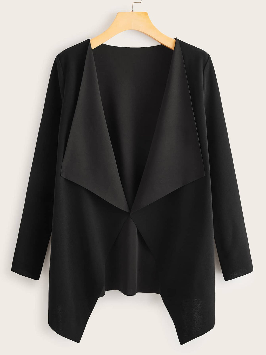 Draped Collar Open Front Coat - INS | Online Fashion Free Shipping Clothing, Dresses, Tops, Shoes