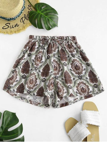 Drawstring Plant Print Shorts - INS | Online Fashion Free Shipping Clothing, Dresses, Tops, Shoes