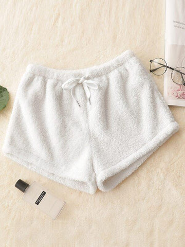 Drawstring Waist Flannel Lounge Shorts - INS | Online Fashion Free Shipping Clothing, Dresses, Tops, Shoes