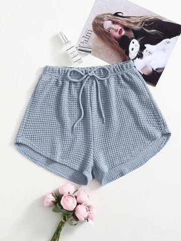 Drawstring Waist Waffle Lounge Shorts - INS | Online Fashion Free Shipping Clothing, Dresses, Tops, Shoes